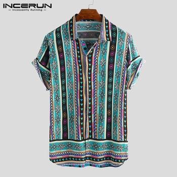 INCERUN Ethnic Style Print Men Casual Shirt Lapel Neck Streetwear Short Sleeve Tops 2019 Loose Tropical Hawaiian Shirt Men S-5XL 1