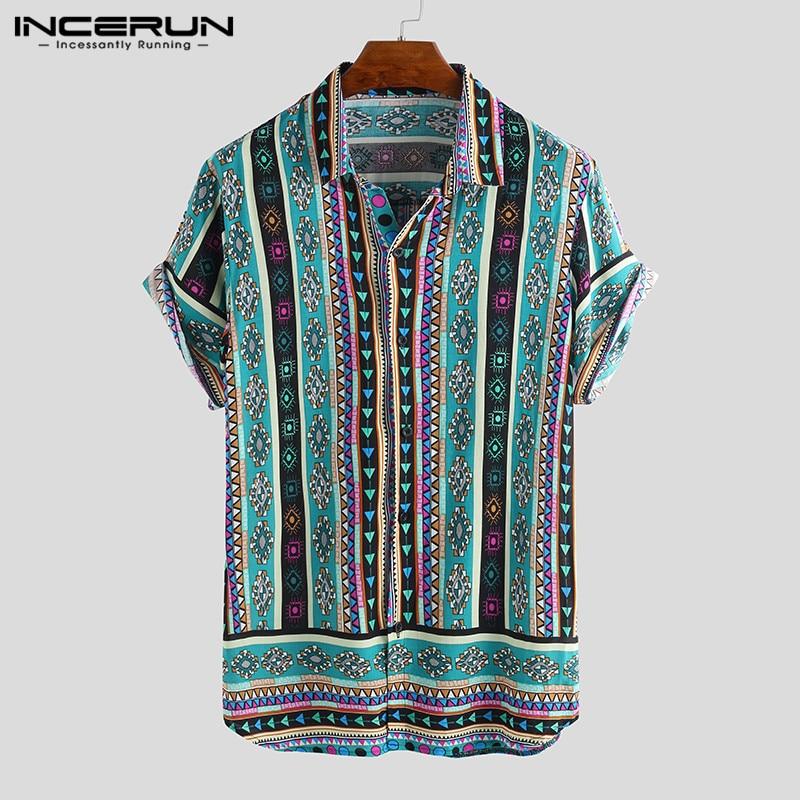 INCERUN Ethnic Style Print Men Casual Shirt Lapel Neck Streetwear Short Sleeve Tops 2019 Loose Tropical Hawaiian Shirt Men S-5XL