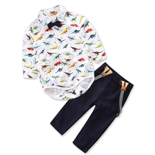AmzBarley Baby Boys Long Sleeve Shirt With Bow Tie Suspenders Pants Infant Gentleman Birthday Party Suit