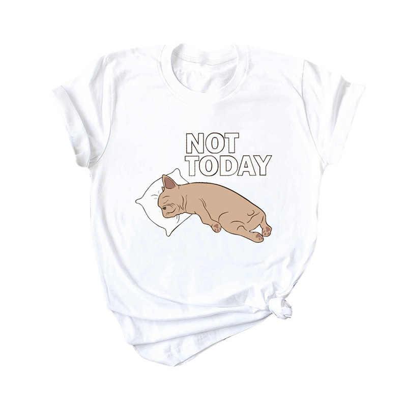 100% כותנה חולצה נשים 5XL בתוספת גודל קיץ מצחיק חולצה חמוד כלב לא היום הדפסה קצר שרוולים O צוואר מגניב טיז מקרית חולצות
