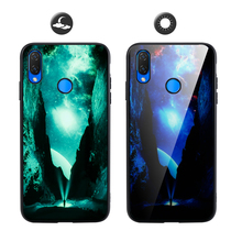 Luminous Case For Huawei Honor Play Case Soft TPU Frame Glossy Glass Back Cover For Honor Play Case Shockproof Glow in the Dark glow in the dark protective tpu pc back case for iphone 5 green transparent
