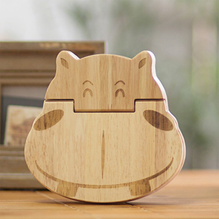 1PC 5-7 Years Wooden Cartoon Hippo Baby Teeth Box Guard Eeth Growth Of Children Education Collect Teeth Baby Save Souvenir