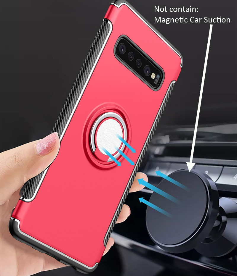 Car Magnetic Case For Samsung Galaxy S10 Plus Ring Holder Finger Grip Cover Absorb On Magnet Holder Bracket