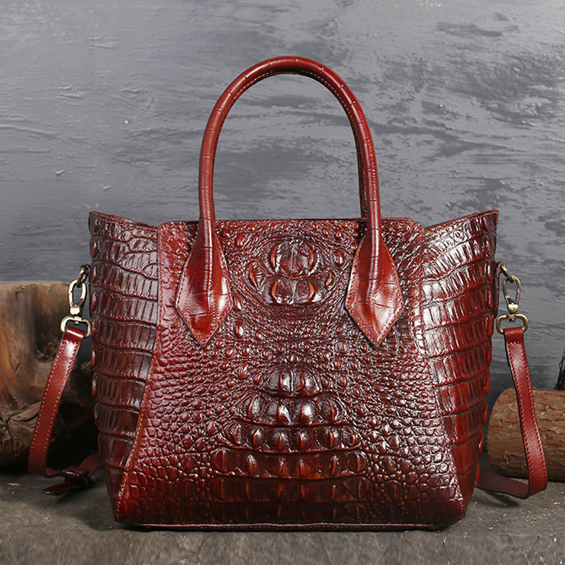 Women Oil Wax Cowhide Cross Body Tote Handbag Crocodile Pattern Luxury Ladies Messenger Shoulder Top Handle Genuine Leather BagWomen Oil Wax Cowhide Cross Body Tote Handbag Crocodile Pattern Luxury Ladies Messenger Shoulder Top Handle Genuine Leather Bag