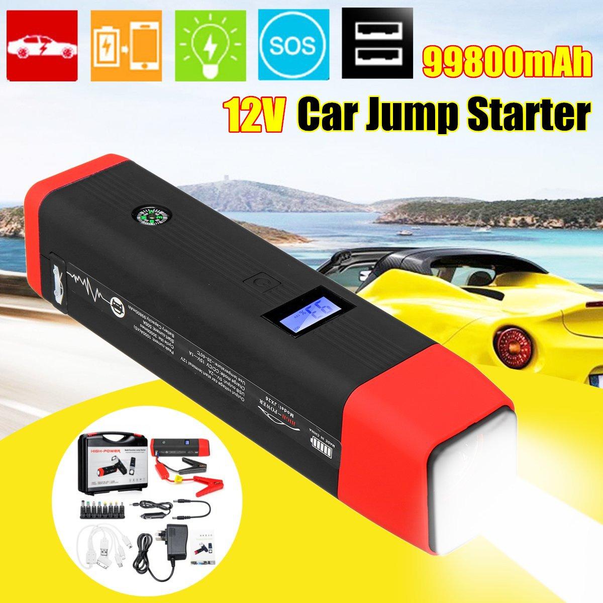 99800mAh 12V 2USB Start Best 1000A Peaks Current Car Jump Starter Starting Power Bank Auto Battery Portable Pack Booster