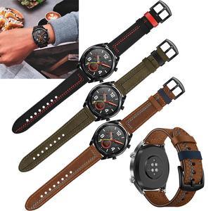 Image 3 - 22MM Smart Sports Watch Strap Top Layer Fashion Replacement Leather Watch Strap 7 Shape Wristband Watch Magic Band 2019 New