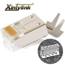 Xintylink Connettore Del Cavo Ethernet Rj45 Spina Cat6 Rete Rg Rj 45 8p8c Modulare Gatto 6 Conector Stp Schermato Rg45 Oro placcato 50u