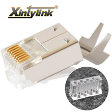 Xintylink ethernet cabo conector rj45 tomada cat6 rede rg rj 45 8p8c gato modular 6 conector stp protegido rg45 banhado a ouro 50u