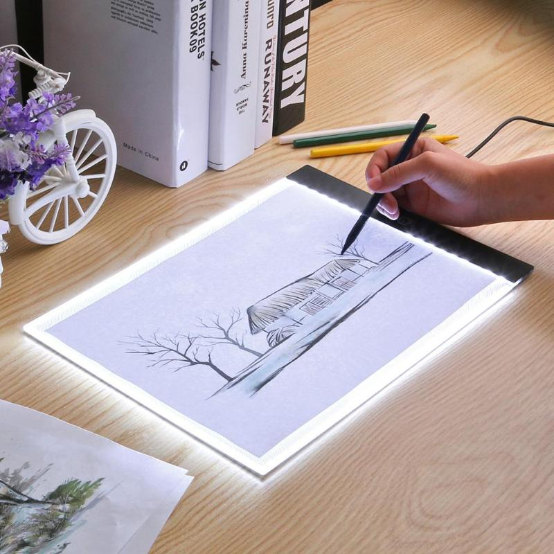 A4/<font><b>A5</b></font> Writing Digital Drawing Tablet Graphic Tablets <font><b>LED</b></font> <font><b>Light</b></font> Box <font><b>Pad</b></font> Electronic USB Tracing Art Copy Board Painting Table image