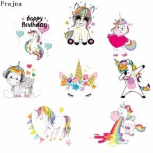 Prajna Rainbow Unicorn Besi Pada Transfer Kid Kartun Patch Stripes Di Pakaian Gaun DIY Perpindahan Panas Vinyl Appliques H(China)