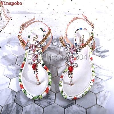 Vinapobo Summer Sandals Women Shoes Natural Genuine Leather Crystal Square Thick Heel Shoes Flower Flip Flops