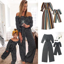 272b2d4fa0a Mother and Daughter Clothes Off shoulder Striped Wide Leg Romper Jumpsuit  Overalls Family Match Clothes(