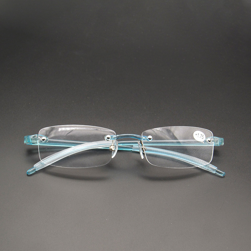 Brand Flexible TR90 Women Reading <font><b>Glasses</b></font> Frameless Men Magnifier Blue Presbyopic Eyewear +0.<font><b>5</b></font> +0.75 +<font><b>1</b></font> +<font><b>1</b></font>.25 +<font><b>1</b></font>.<font><b>5</b></font> +<font><b>1</b></font>.75 +2 ~ +4 image