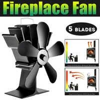 Black 5 Blade Heat Fireplace FanPowered Stove Fan komin Log Wood Burner Eco Friendly Quiet Fan Home Efficient Heat Distribution