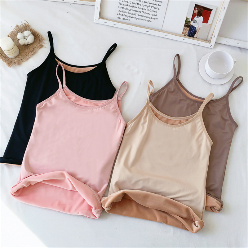 2019 Winter Thickening Velvet Camis   Top   Women Pullovers Camisole Female Warm   Tank     Tops   SS6081