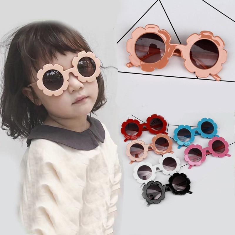 2019 New Korean Style Kids Sunglasses Children Boys Girls Round Flower Glasses Flowers Frame Sport Novelty Toys Outwear