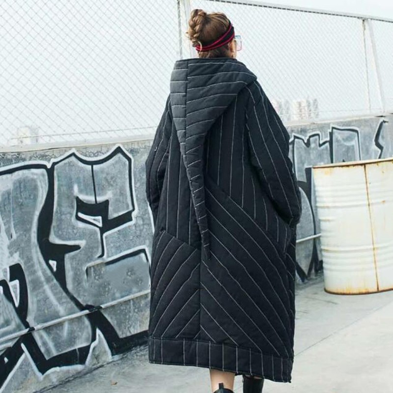 CHICEVER Gestreepte vrouwen Winter Jassen Hooded Lange Mouwen Rits Asymmetrische Zoom Jas Vrouwelijke Jas Mode Streetwear Tij 2019-in Parka's van Dames Kleding op  Groep 2