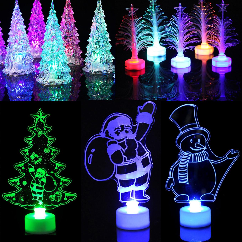 Colorful Mini Luces Led Christmas Tree Night Light Snowman Children Gift Xmas Lights Lamps Party Home Decor 1PC 5PCS 10PCS 20PCS