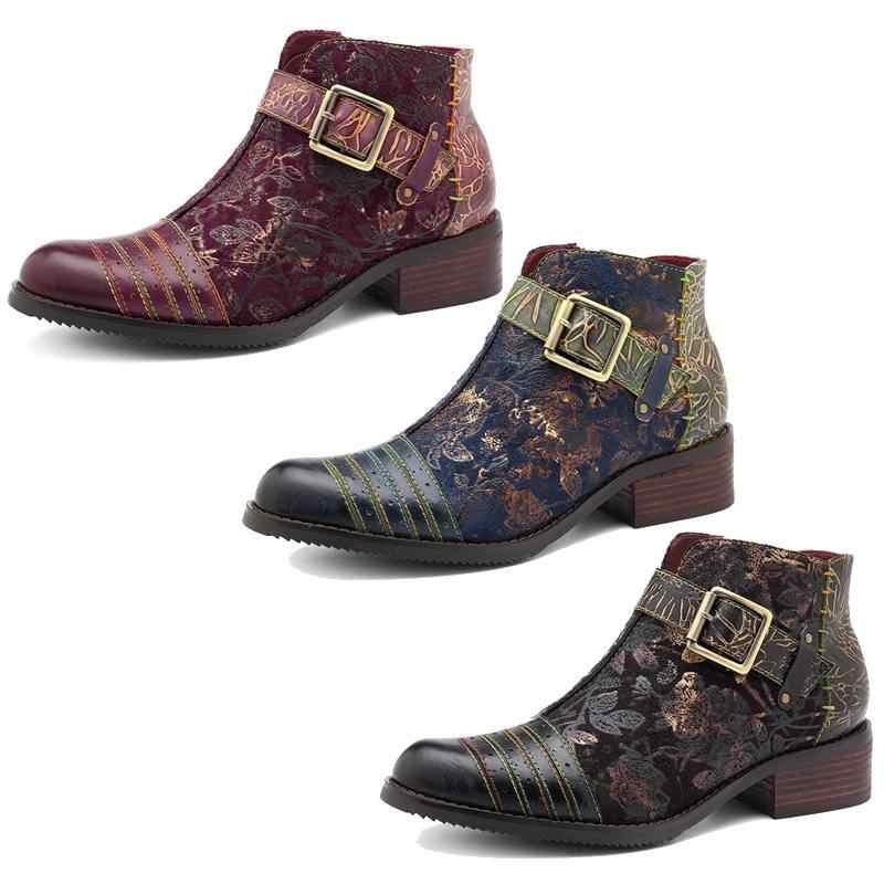 Socofy Retro Bohemian çizmeler kadın ayakkabıları kadın bahar sonbahar inek deri motosiklet botları fermuar tıknaz topuk ayak bileği ayakkabı 2020