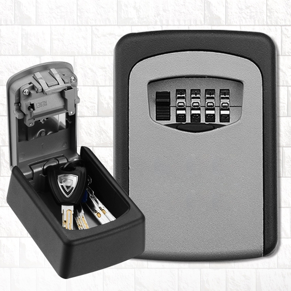 US $15 62 30% OFF|Wall Mounted Outdoor Key Storage Lock Box 4 Digit  Combination Password Key Safe Box Resettable Code Key Holder Hider-in Safes  from