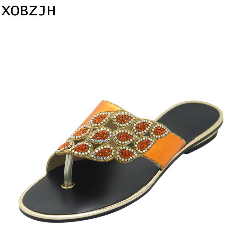 Chaussures La Orange D'été De Nouvelle Plat Sandales 2018 Plus Partie Matures Luxe Taille Femmes Open Xobzjh Strass Mode Toe Dames dAR6Ud