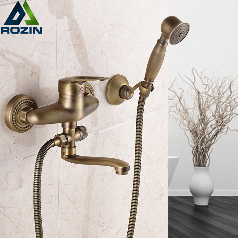 Modern Bath Faucet Antique Brass Hot and Cold Water Shower Mixer Tap Single Handle 16 20