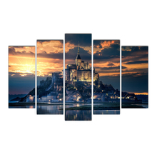 HD 5 Piece Canvas Michel Island Castle Sunset Painting Posters And Prints Canvas Painting for Living Room Free Free Shipping