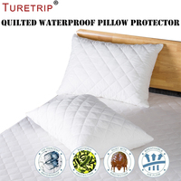 Turetrip Thick Quilted Pillow Covers Padded Pillow Protector Zippered Set of 2 Queen Size Bedbug Proof Keep Your Pillow Clean