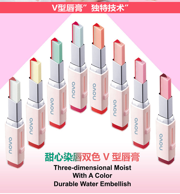 Producto de Importación NOVO Lápiz labial V corte dos tonos tinte sedoso nutritivo efecto mordido