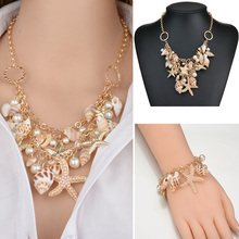 Women Starfish Shell Pendant Necklace Bohemia Summer Statement Charm Bracelet Pearl  Beach Fashion Elegant