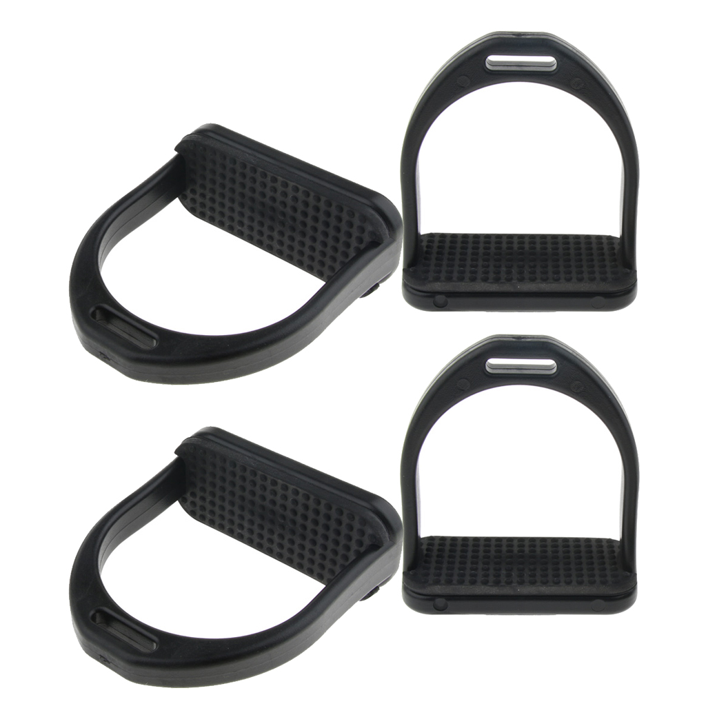 Pair Stirrups Safety Bendy Horse Riding Equestrian Stirrups For Adults Kid, Black