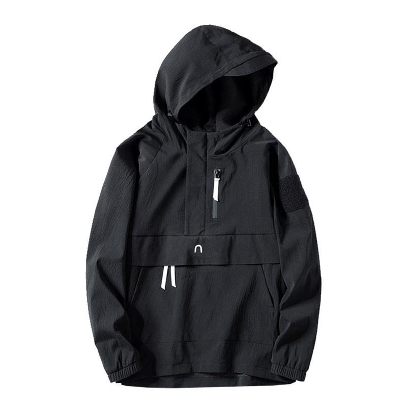 Nouveau noir blanc automne printemps hommes veste décontracté mode jeunesse tendance Slim design créatif à capuche chemise