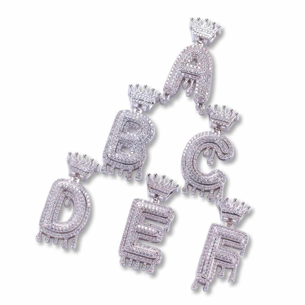 Niestandardowe korona Bail Drip Bubble inicjały Chain naszyjniki i wisiorek dla kobiet mężczyzn złoty kolor Cubic cyrkon Hip Hop biżuteria