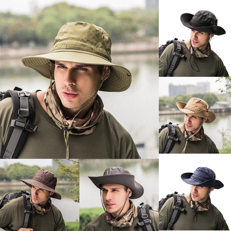 d29c0200cdfd33 Bucket Hat Men Cap Fishing Hunting Safari Summer Men Sun Hat Fisherman Hat