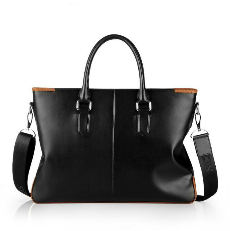 New Fashion Casual Genuine Leather Men Tote Bags Large Capacity Shoulder Bag Black Male Crossbody Bag Big Handbag For MenNew Fashion Casual Genuine Leather Men Tote Bags Large Capacity Shoulder Bag Black Male Crossbody Bag Big Handbag For Men