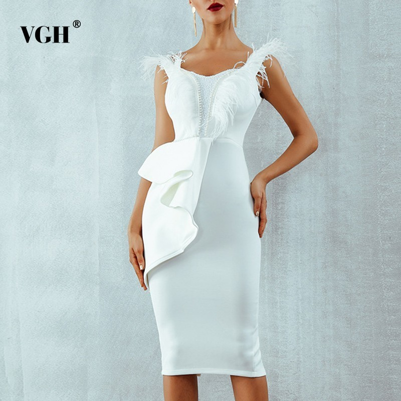 Kadın Giyim'ten Elbiseler'de VGH Vintage Katı Kayış Tüy Elbise kadınlar için açık omuzlu Yüksek Bel Ince Fermuar 2019 Yaz Patchwork Elbiseler Kadın Moda Yeni'da  Grup 1