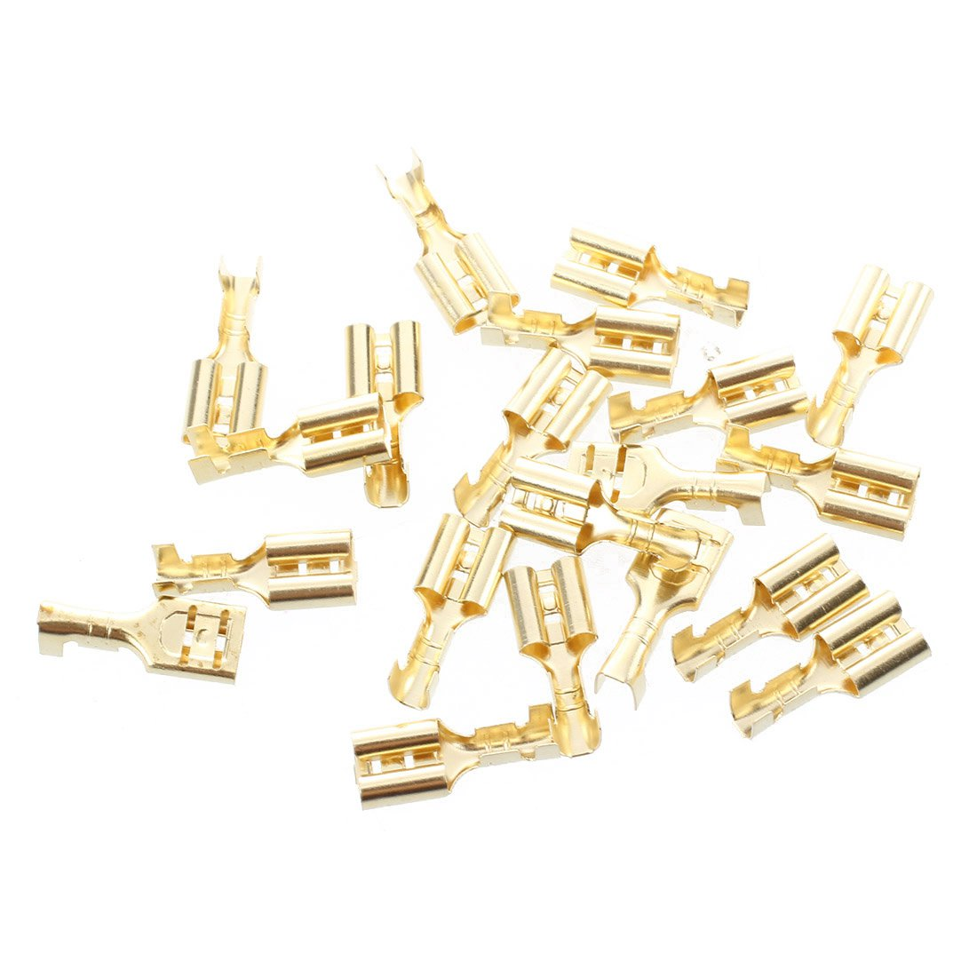 20 Pcs Gold Tone Brass Crimp Terminal 6 7mm Female Spade Connectors in Terminals from Home Improvement