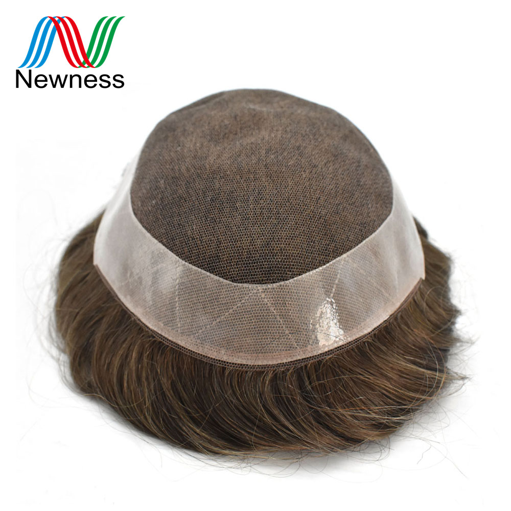 Gentle Newness Hair French Lace With Pu Men Toupee Hair System Natural Color Indian Human Hair Wig For Males Remy Hairpiece