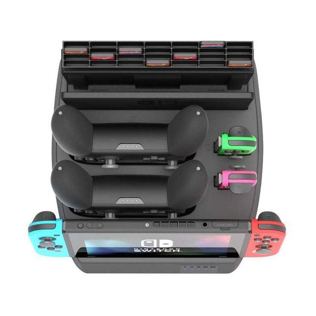 Soporte de pantalla de carga para muelle de carga de Nintendo Switch y soporte de juego para consola de interruptor, controladores Joy Con, interruptor Pro C