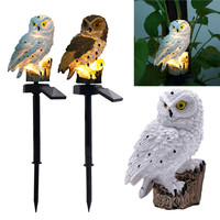 2PCS White/Brown Owl Solar Light With Solar Panel Fake Owl Waterproof Outdoor Solar Powered LED Path Lawn Yard Garden Lamps