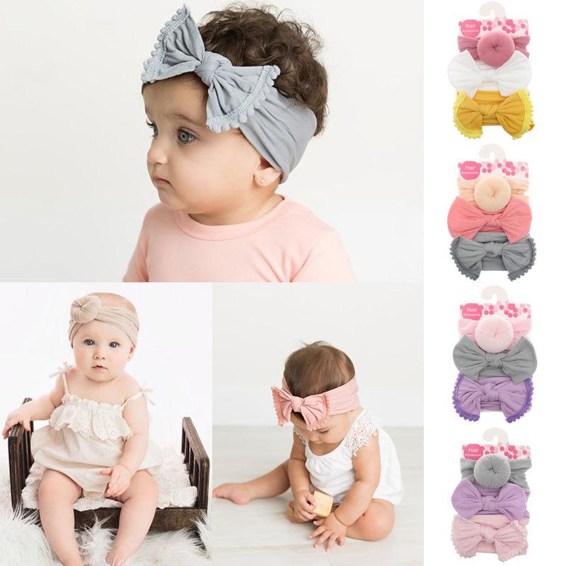 3pcs//lot Baby Girl Nylon Headbands Newborn Infant Toddler Hairbands Bow