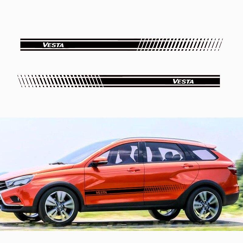 2Pcs Elegante do corpo do carro adesivo de vinil decal corpo Adesivo Lateral para lada Vesta acessórios Do Carro