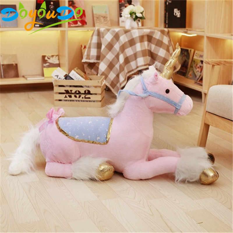 85 centímetros Gigante Cavalo Unicórnio Brinquedo de Pelúcia Bicho de pelúcia Brinquedos de Pelúcia Boneca de Presente Decoração de Casa para As Crianças Foto Props