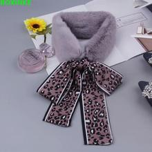 Ring Women Print Winter Hijab South Korea East Gate Leopard Ribbon Neck Furry New Style Of Student Warm With Rabbit Hair