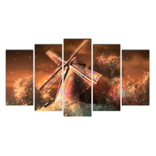 Cairnsi 5 Piece HD Canvas Wall Art Dreamy Beautiful Dutch Windmill Canvas Prints For Modern Living Room Bedroom Decoration