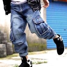 Джинсы в стиле хип-хоп, мужские джинсовые комбинезоны с боковыми карманами, мужские джинсовые штаны, шаровары, мужские джинсы, Большой размер 44, 46, Мешковатые Свободные мужские джинсы