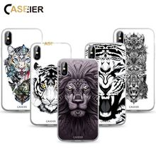 цена на CASEIER Scrub Tattoo Phone Case For iPhone 7 8 6 6s Plus X Animal Patterned Case For iPhone X 8 7 6 6S Plus Soft TPU Back Cover