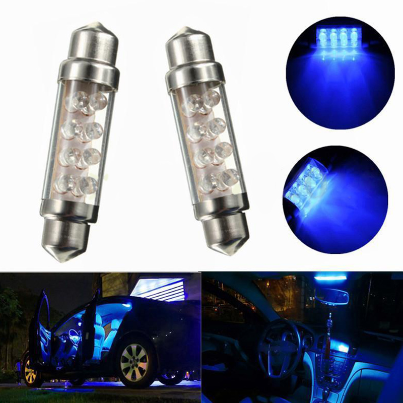 2pcs/set 42mm C5W 239 8 SMD LED Car Interior Festoon  Light Lamp Bulb Blue