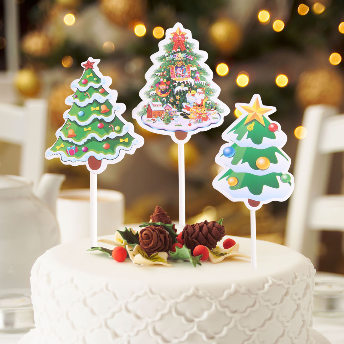 Cupcake Toppers 10pcs Cake Paper Christmas Tree Cake ...