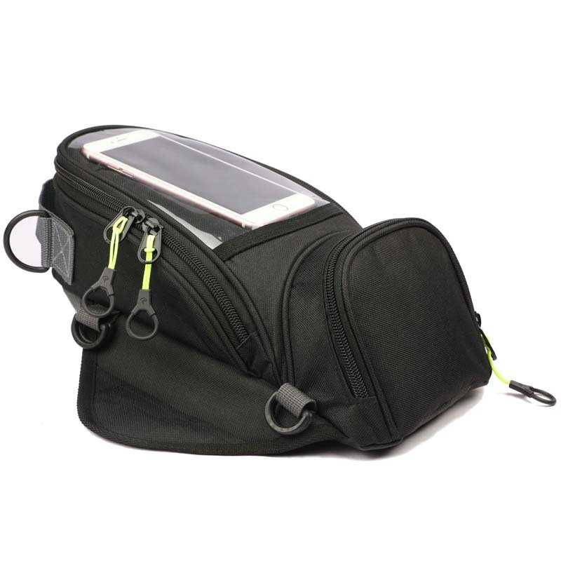 Nueva bolsa de combustible para motocicleta, bolsa de navegación para teléfono móvil, paquete de depósito de aceite pequeño multifuncional, correas fijas magnéticas